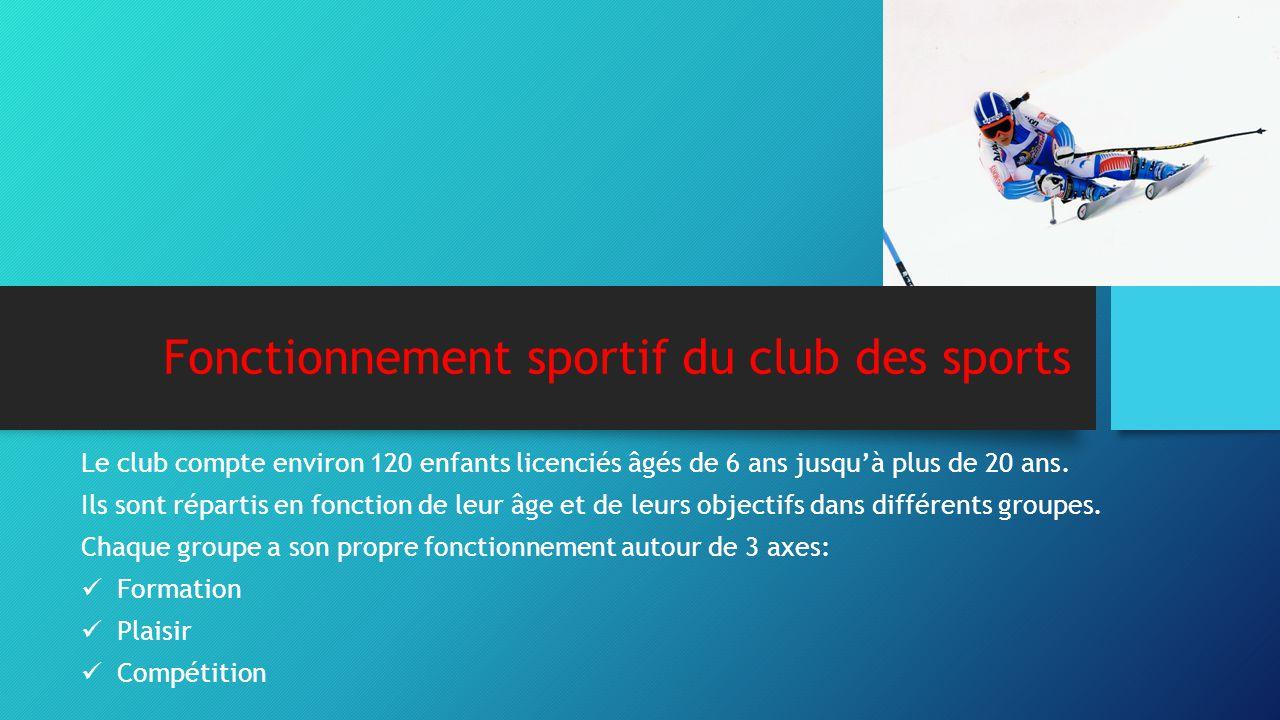 Fonctionnement sportif du club des sports Le club compte environ 120 enfants licenciés âgés de 6 ans jusqu'à plus de 20 ans. Ils sont répartis en fonc