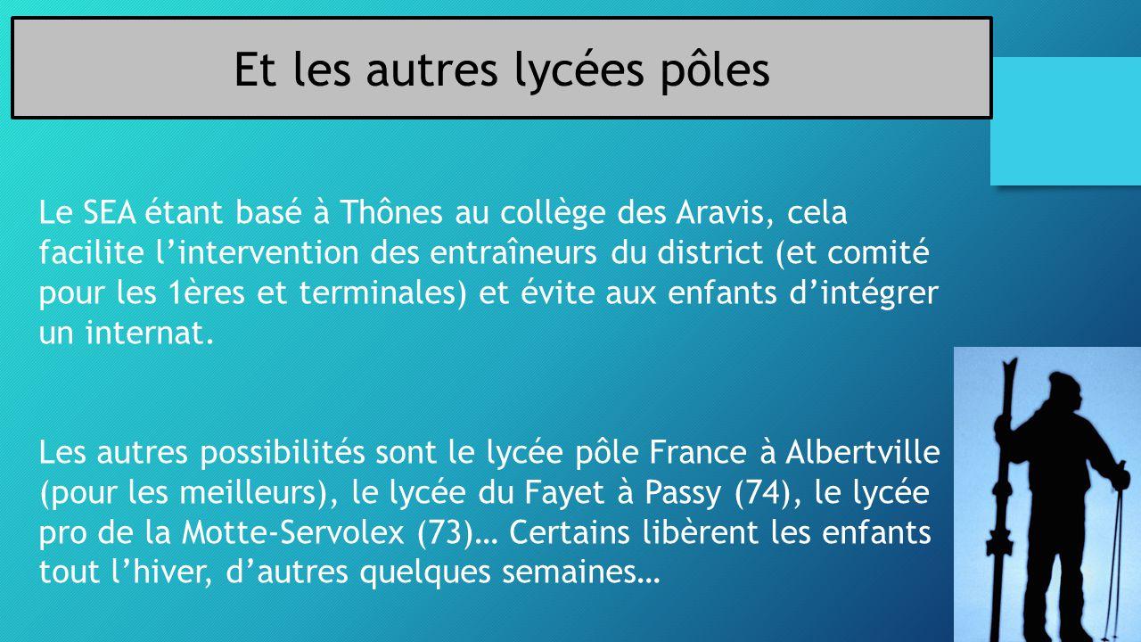 Et les autres lycées pôles Le SEA étant basé à Thônes au collège des Aravis, cela facilite l'intervention des entraîneurs du district (et comité pour