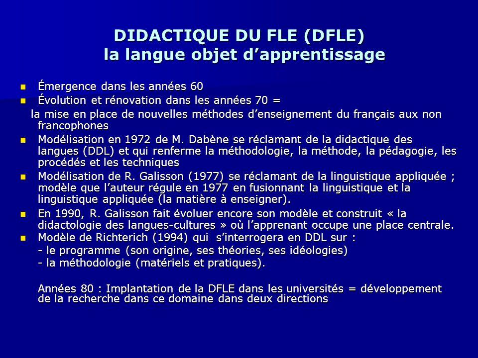DIDACTIQUE DU FLE (DFLE) la langue objet d'apprentissage Émergence dans les années 60 Émergence dans les années 60 Évolution et rénovation dans les an
