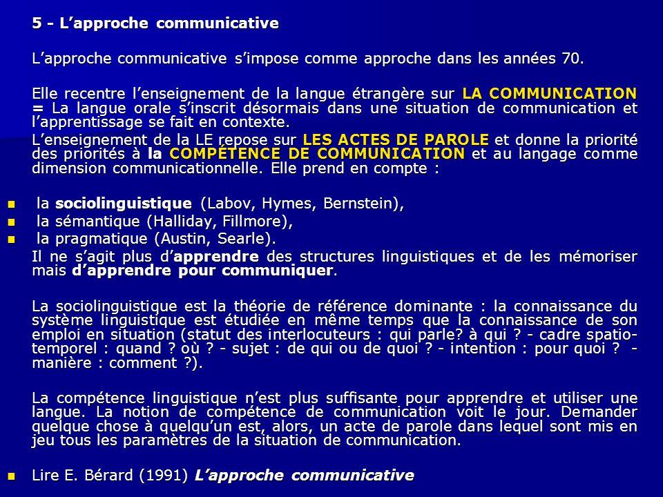 5 - L'approche communicative L'approche communicative s'impose comme approche dans les années 70. Elle recentre l'enseignement de la langue étrangère