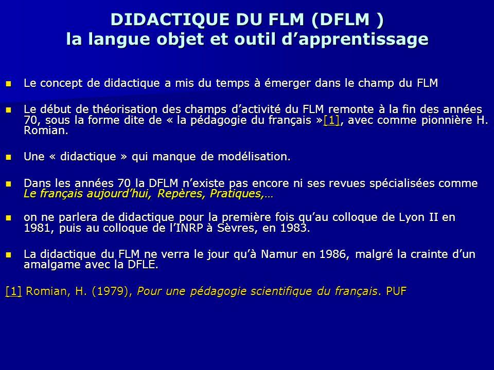 DIDACTIQUE DU FLM (DFLM ) la langue objet et outil d'apprentissage Le concept de didactique a mis du temps à émerger dans le champ du FLM Le concept d
