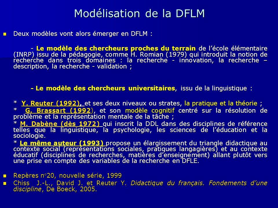Modélisation de la DFLM Deux modèles vont alors émerger en DFLM : Deux modèles vont alors émerger en DFLM : - Le modèle des chercheurs proches du terr