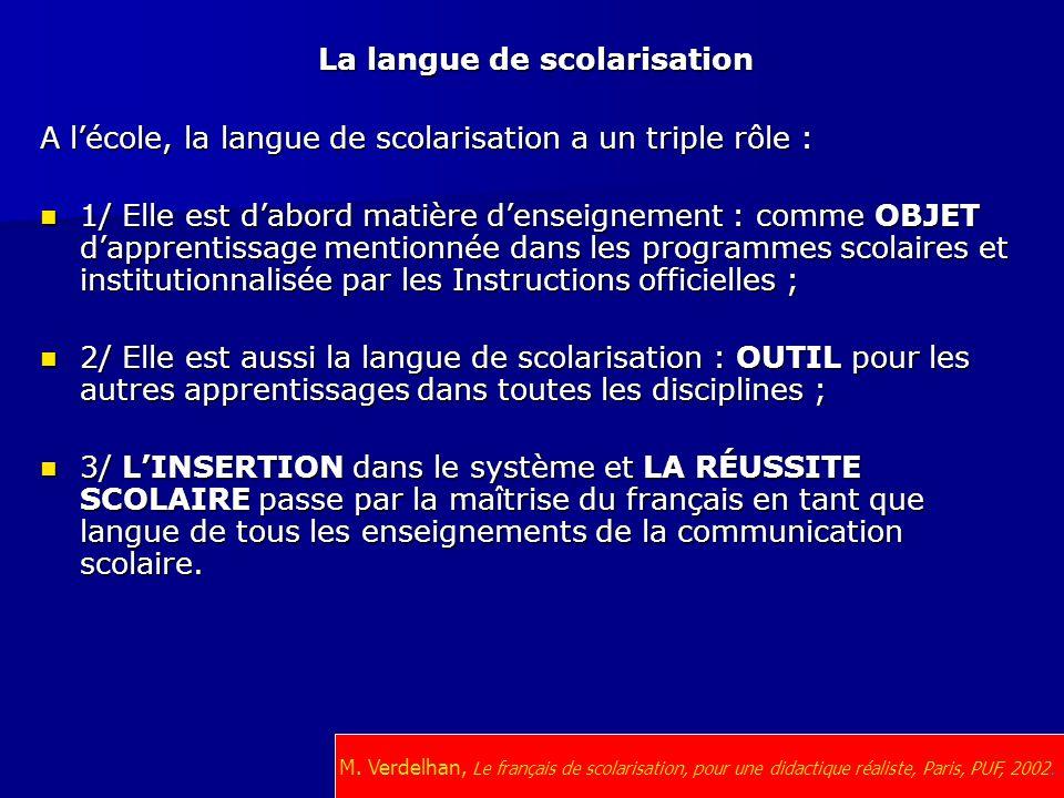 La langue de scolarisation A l'école, la langue de scolarisation a un triple rôle : 1/ Elle est d'abord matière d'enseignement : comme OBJET d'apprent