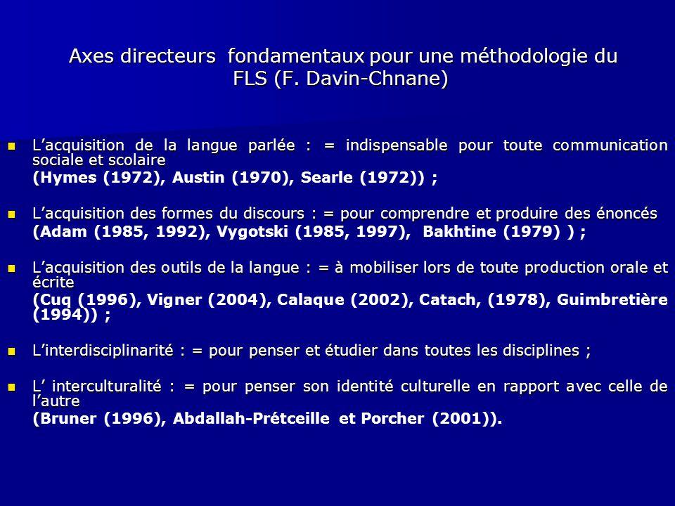 Axes directeurs fondamentaux pour une méthodologie du FLS (F. Davin-Chnane) Axes directeurs fondamentaux pour une méthodologie du FLS (F. Davin-Chnane