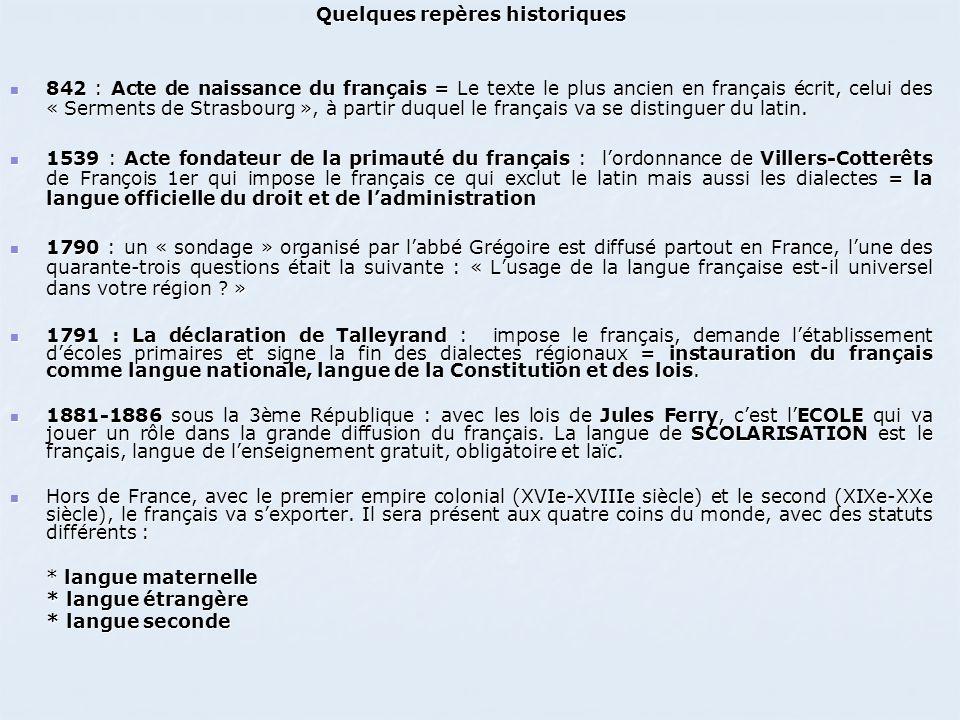 Quelques repères historiques 842 : Acte de naissance du français = Le texte le plus ancien en français écrit, celui des « Serments de Strasbourg », à