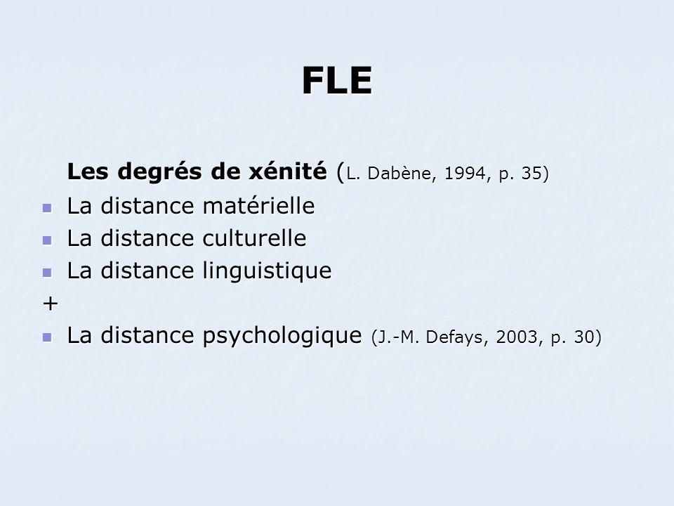 FLE Les degrés de xénité ( L. Dabène, 1994, p. 35) La distance matérielle La distance matérielle La distance culturelle La distance culturelle La dist