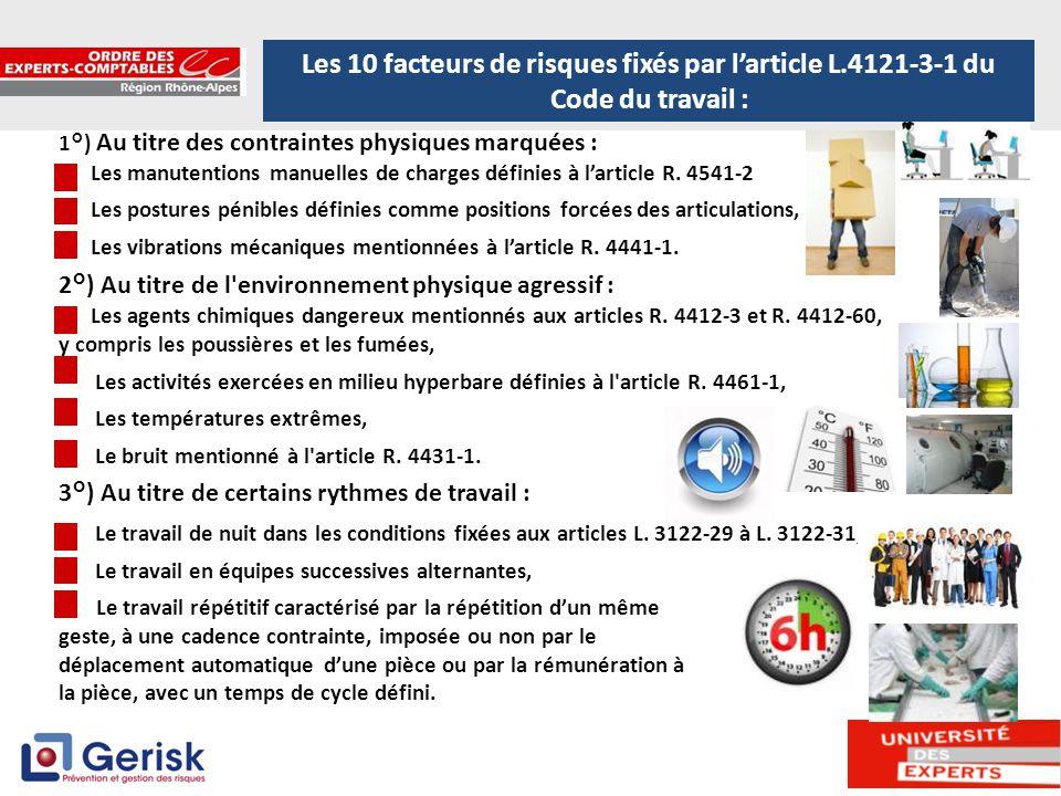 4 1°) Au titre des contraintes physiques marquées : Les manutentions manuelles de charges définies à l'article R. 4541-2 Les postures pénibles définie