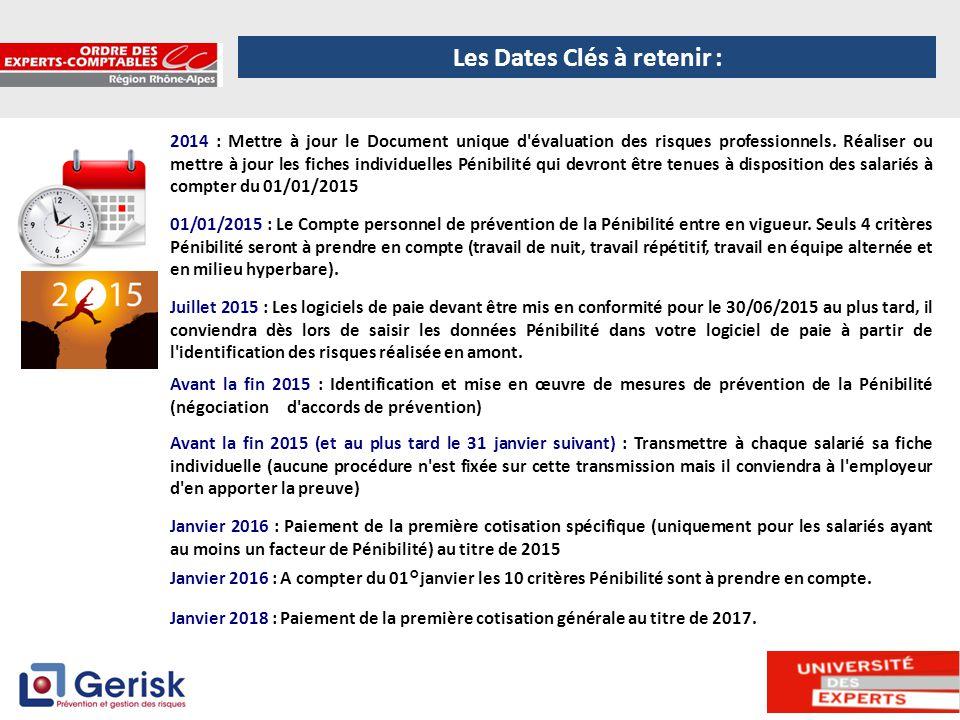 5 2014 : Mettre à jour le Document unique d'évaluation des risques professionnels. Réaliser ou mettre à jour les fiches individuelles Pénibilité qui d