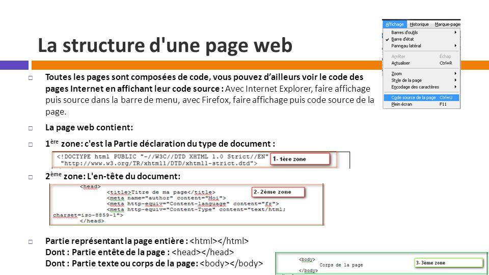 La structure d'une page web  Toutes les pages sont composées de code, vous pouvez d'ailleurs voir le code des pages Internet en affichant leur code s