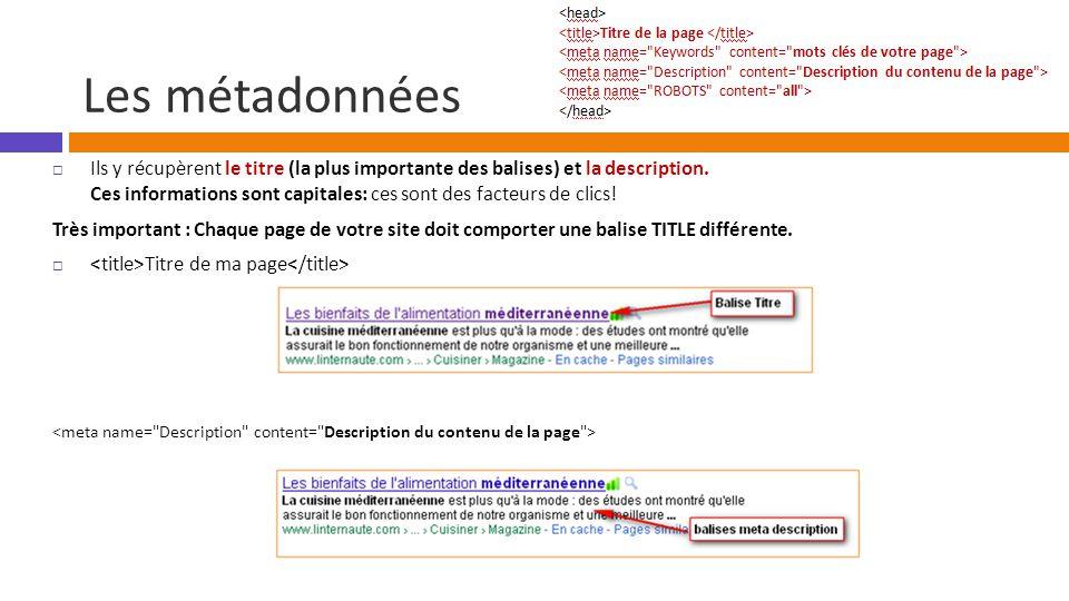 Les métadonnées  Ils y récupèrent le titre (la plus importante des balises) et la description.