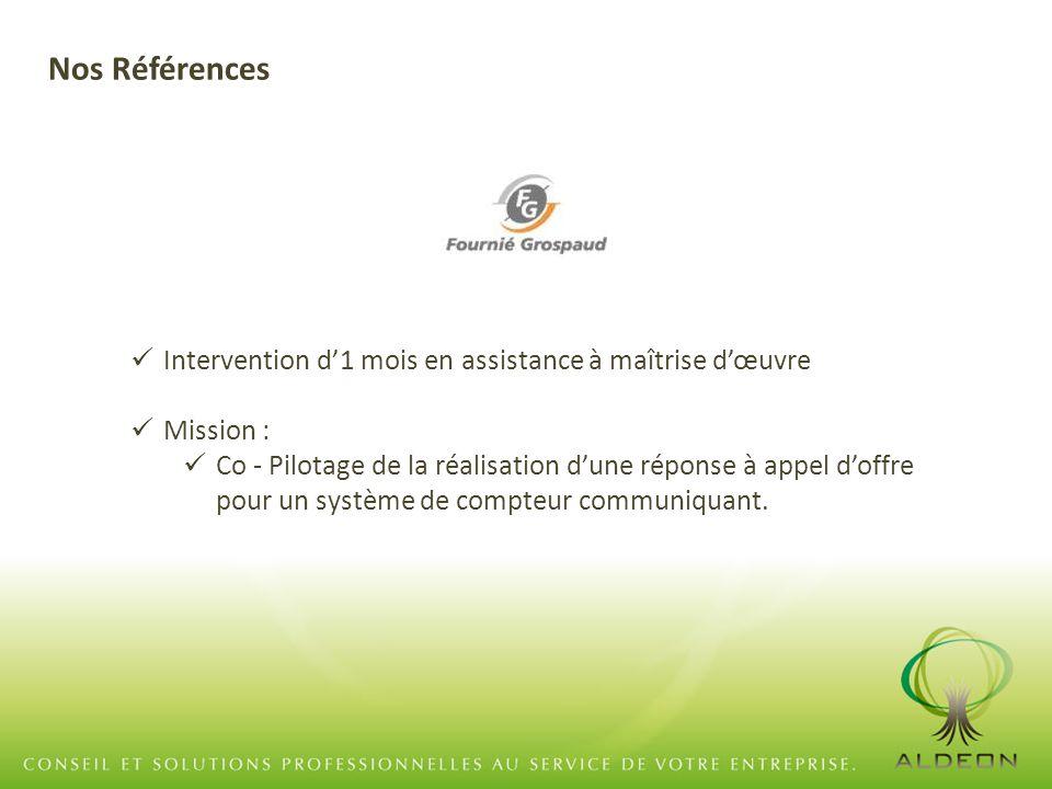 Intervention d'1 mois en assistance à maîtrise d'œuvre Mission : Co - Pilotage de la réalisation d'une réponse à appel d'offre pour un système de compteur communiquant.