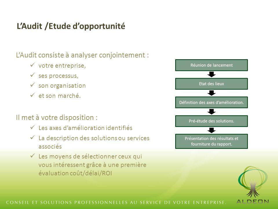 L'Audit /Etude d'opportunité L'Audit consiste à analyser conjointement : votre entreprise, ses processus, son organisation et son marché. Il met à vot
