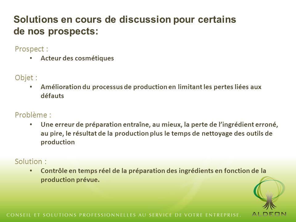 Prospect : Acteur des cosmétiques Objet : Amélioration du processus de production en limitant les pertes liées aux défauts Problème : Une erreur de pr