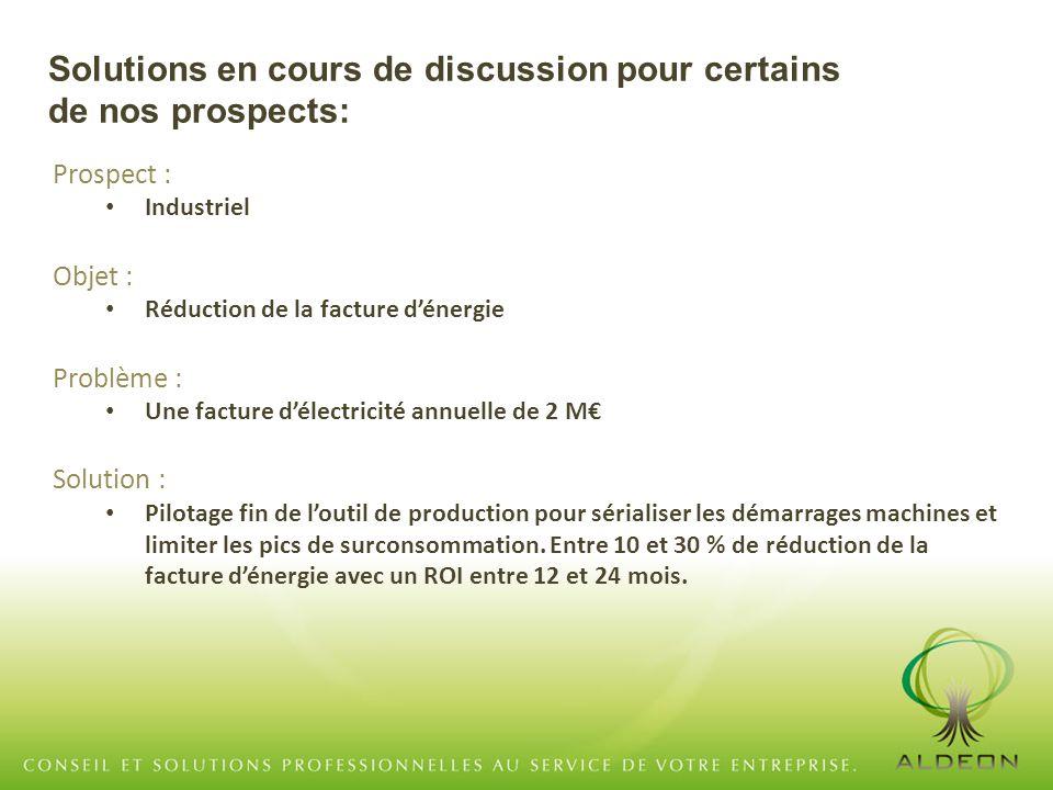 Prospect : Industriel Objet : Réduction de la facture d'énergie Problème : Une facture d'électricité annuelle de 2 M€ Solution : Pilotage fin de l'out