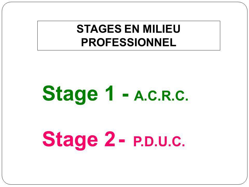 STAGES EN MILIEU PROFESSIONNEL Stage 1 - A.C.R.C. Stage 2 - P.D.U.C.