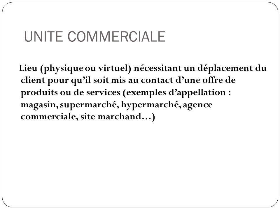 UNITE COMMERCIALE Lieu (physique ou virtuel) nécessitant un déplacement du client pour qu'il soit mis au contact d'une offre de produits ou de service