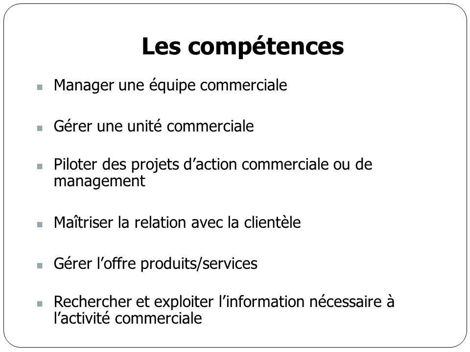 Les compétences Manager une équipe commerciale Gérer une unité commerciale Piloter des projets d'action commerciale ou de management Maîtriser la rela