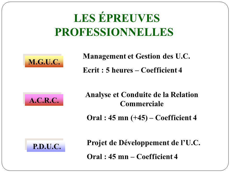 LES ÉPREUVES PROFESSIONNELLES M.G.U.C. A.C.R.C. P.D.U.C. Management et Gestion des U.C. Ecrit : 5 heures – Coefficient 4 Analyse et Conduite de la Rel