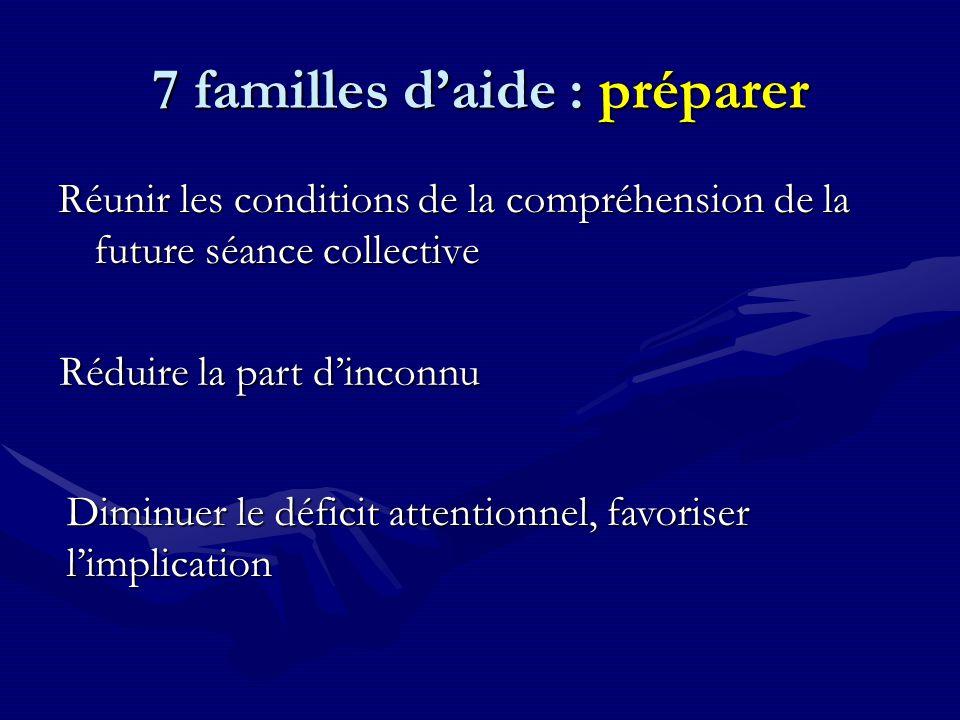 7 familles d'aide : préparer Réunir les conditions de la compréhension de la future séance collective Réduire la part d'inconnu Diminuer le déficit attentionnel, favoriser l'implication