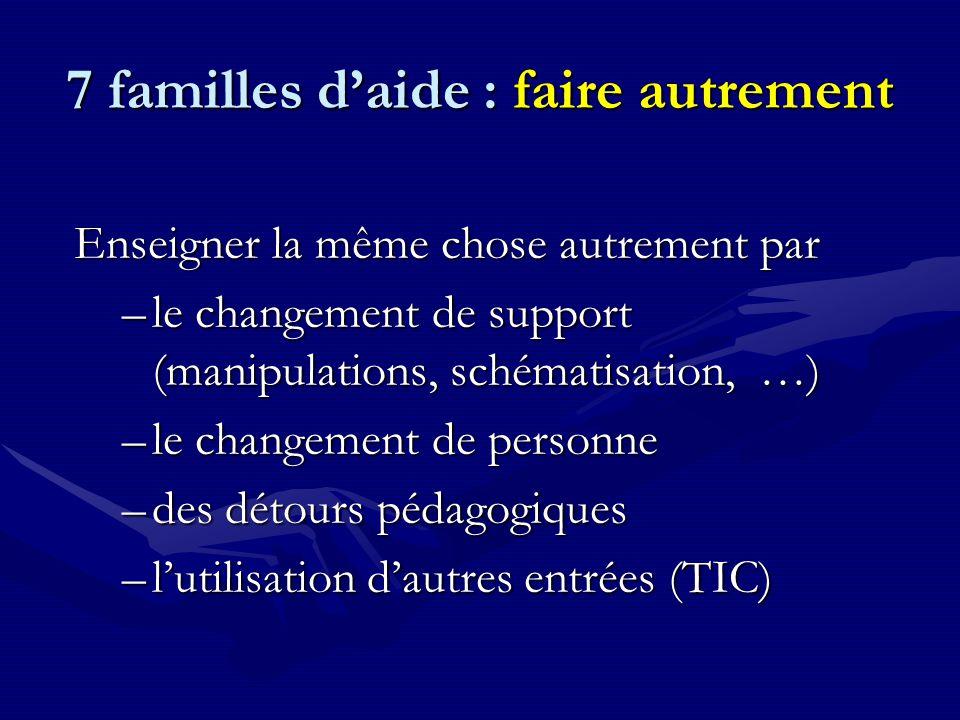 7 familles d'aide : faire autrement Enseigner la même chose autrement par –le changement de support (manipulations, schématisation, …) –le changement de personne –des détours pédagogiques –l'utilisation d'autres entrées (TIC)