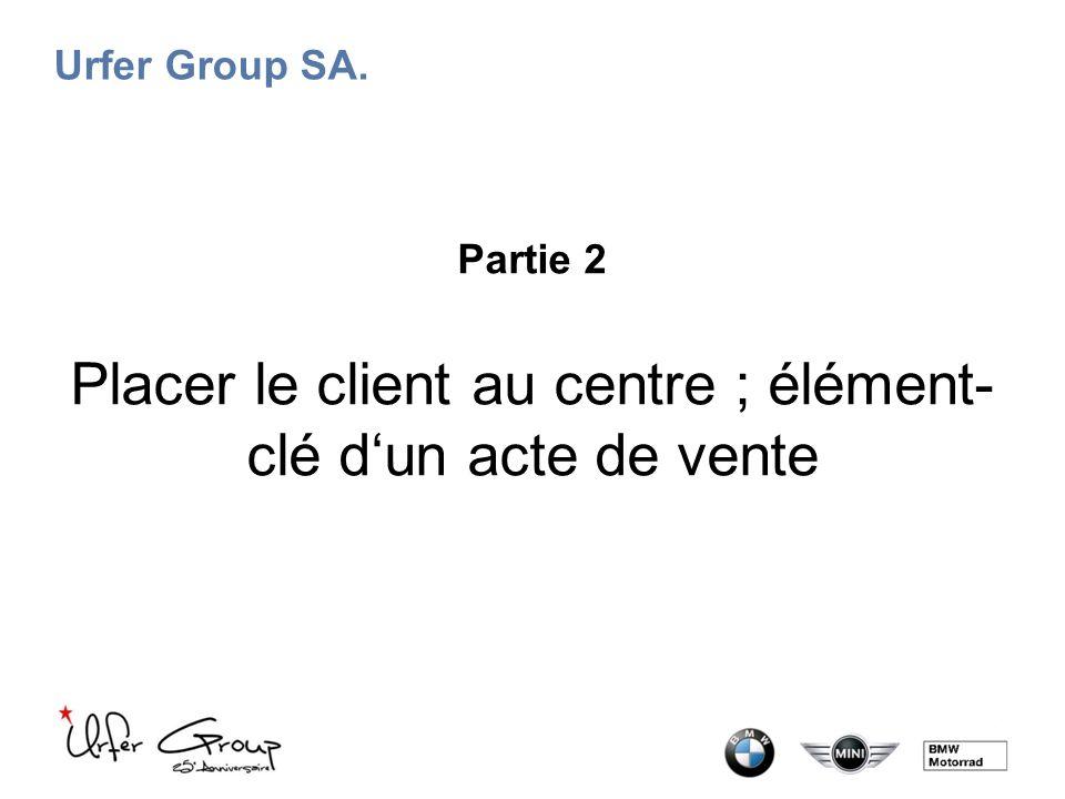 Urfer Group SA. Partie 2 Placer le client au centre ; élément- clé d'un acte de vente