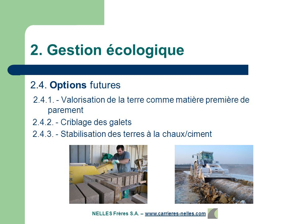 2. Gestion écologique 2.4. Options futures 2.4.1.