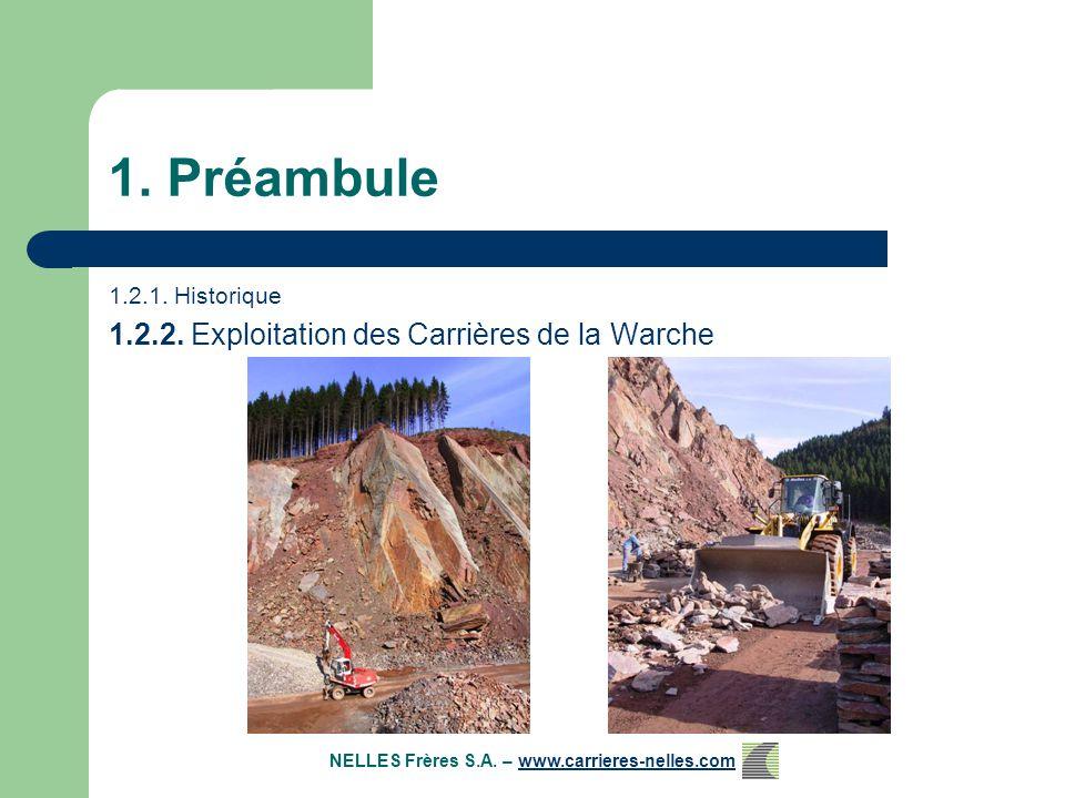 1.Préambule 1.2.1. Historique 1.2.2. Exploitation des Carrières de la Warche 1.2.3.