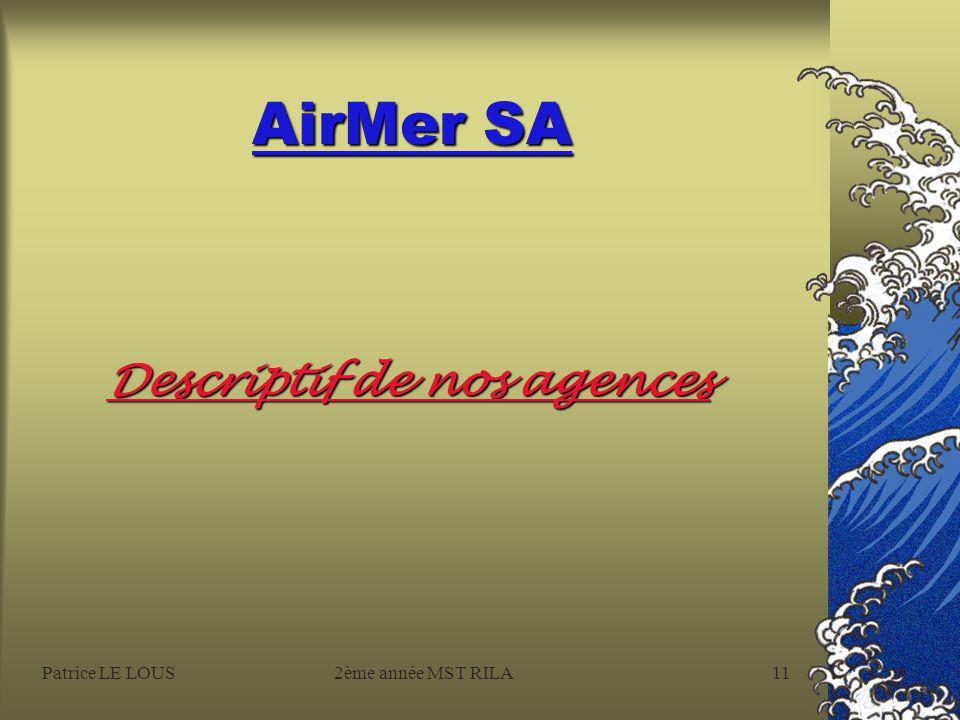 Patrice LE LOUS2ème année MST RILA10 AirMer SA Organigramme Général
