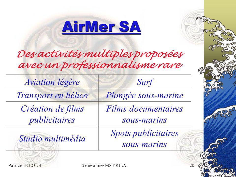 Patrice LE LOUS2ème année MST RILA19 AirMer SA Présentation plus approfondie de nos activités