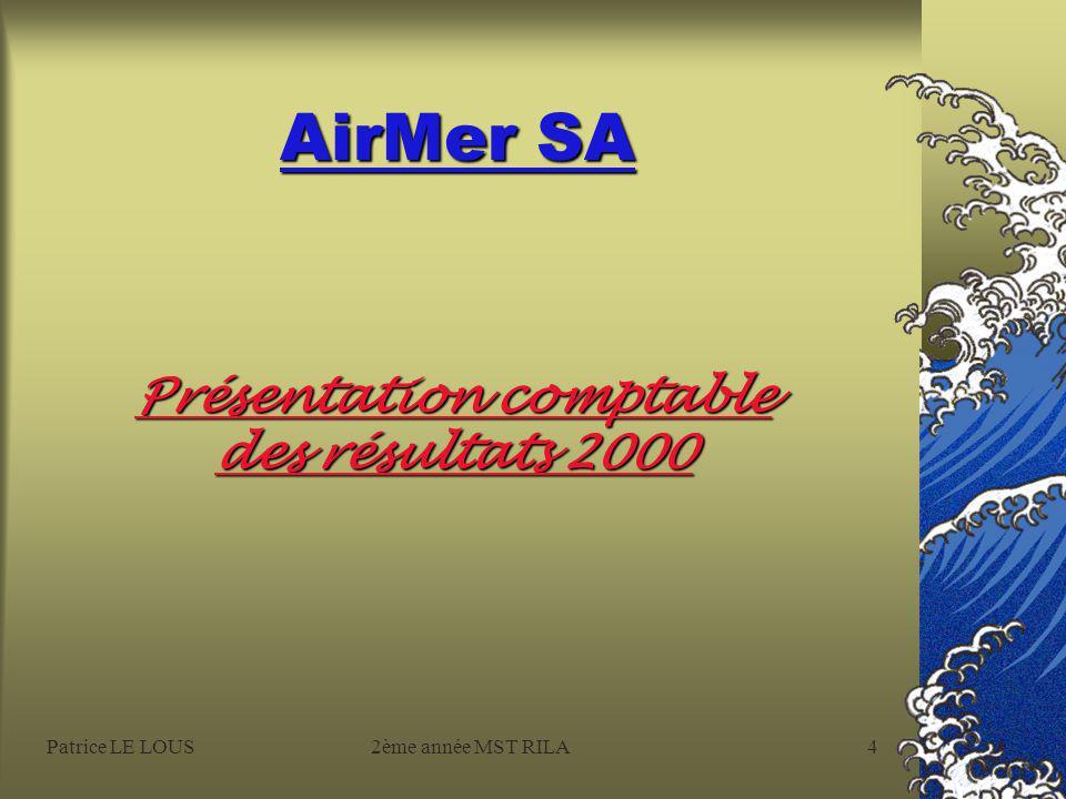 Patrice LE LOUS2ème année MST RILA3 AirMer SA Deux spécialités : l'aérien et le maritime Une vocation : le multimédia Nos activités aériennes aviation