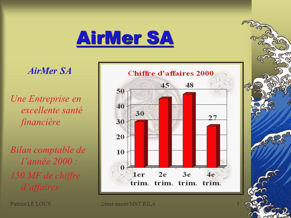Patrice LE LOUS2ème année MST RILA5 AirMer SA Une Entreprise en excellente santé financière Bilan comptable de l'année 2000 : 150 MF de chiffre d'affaires
