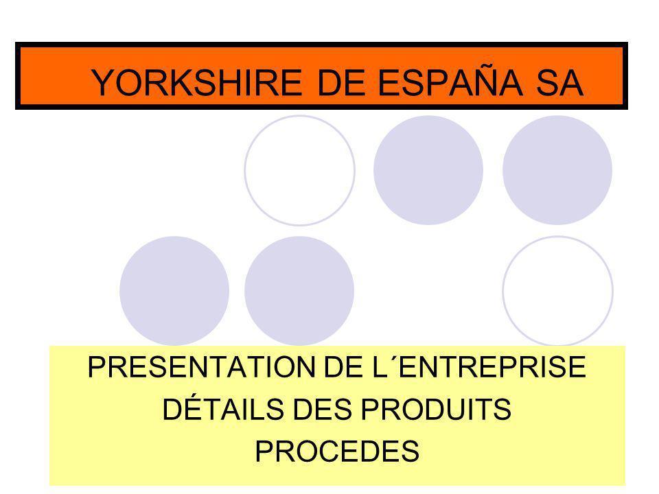 YORKSHIRE DE ESPAÑA SA PRESENTATION DE L´ENTREPRISE DÉTAILS DES PRODUITS PROCEDES
