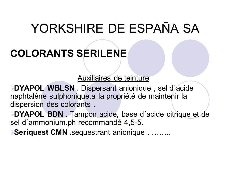 YORKSHIRE DE ESPAÑA SA COLORANTS SERILENE Auxiliaires de teinture  DYAPOL WBLSN. Dispersant anionique, sel d´acide naphtalène sulphonique.a la propri