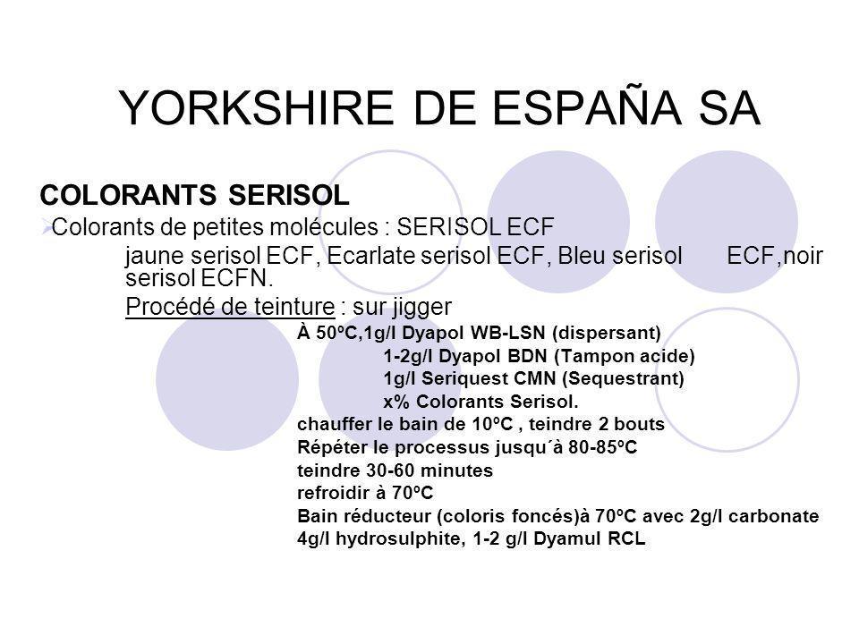 YORKSHIRE DE ESPAÑA SA COLORANTS SERISOL  Colorants de petites molécules : SERISOL ECF jaune serisol ECF, Ecarlate serisol ECF, Bleu serisol ECF,noir