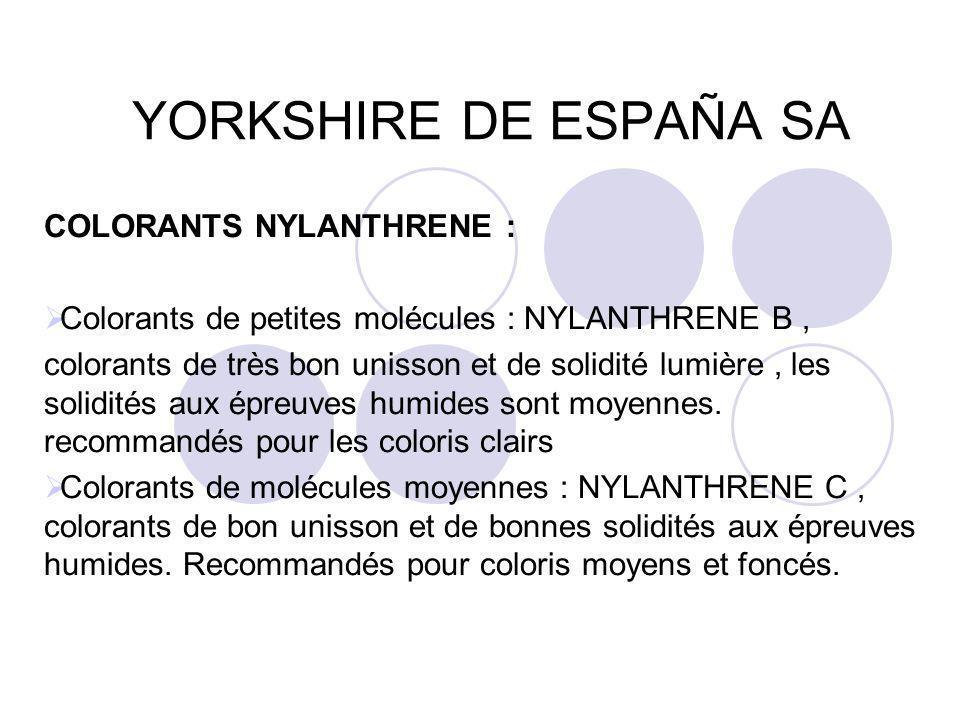 YORKSHIRE DE ESPAÑA SA COLORANTS NYLANTHRENE :  Colorants de petites molécules : NYLANTHRENE B, colorants de très bon unisson et de solidité lumière,