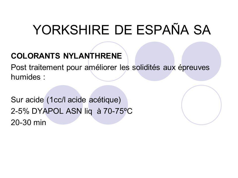 YORKSHIRE DE ESPAÑA SA COLORANTS NYLANTHRENE Post traitement pour améliorer les solidités aux épreuves humides : Sur acide (1cc/l acide acétique) 2-5%
