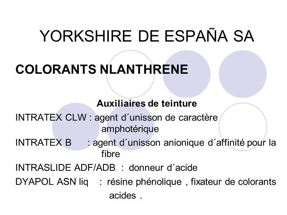 YORKSHIRE DE ESPAÑA SA COLORANTS NLANTHRENE Auxiliaires de teinture INTRATEX CLW : agent d´unisson de caractère amphotérique INTRATEX B : agent d´unis