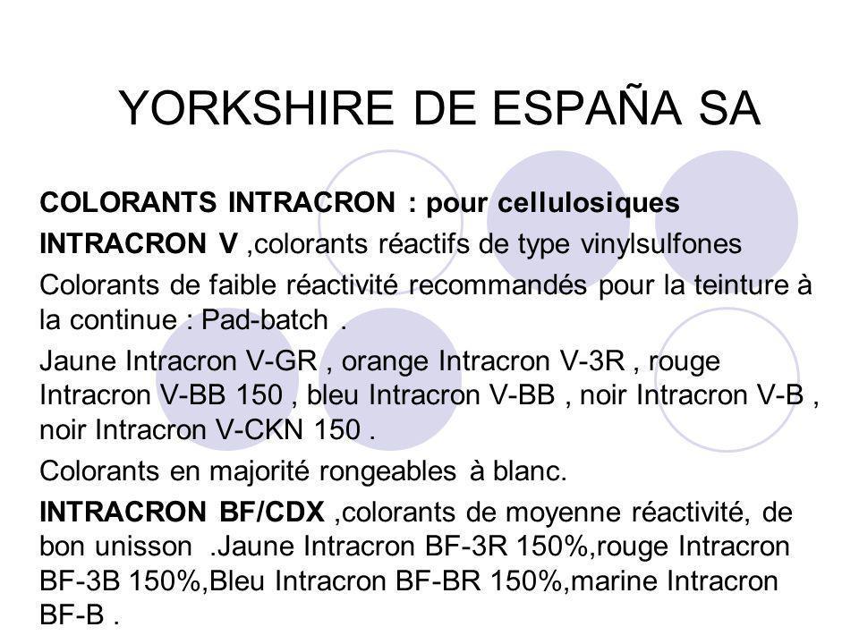 YORKSHIRE DE ESPAÑA SA COLORANTS INTRACRON : pour cellulosiques INTRACRON V,colorants réactifs de type vinylsulfones Colorants de faible réactivité re
