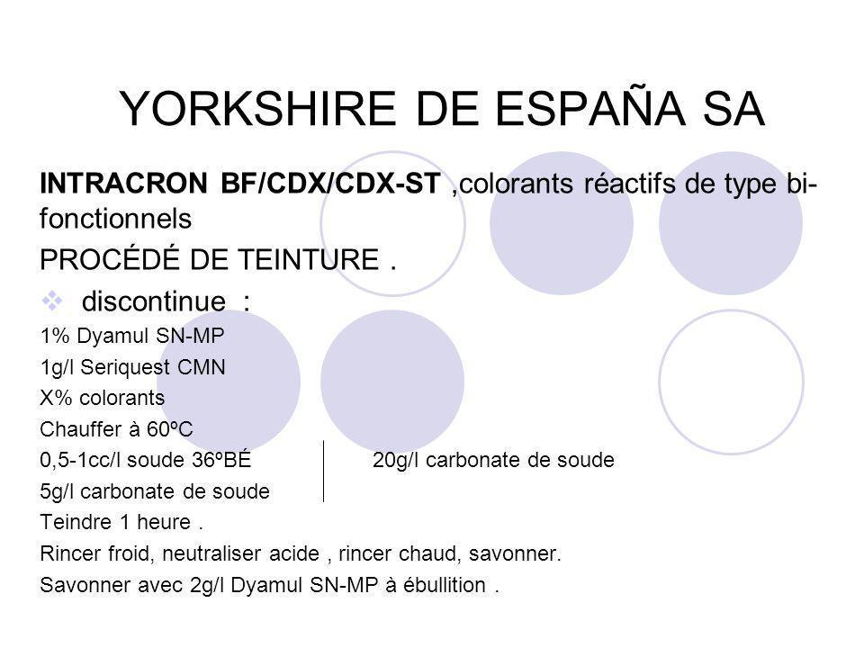YORKSHIRE DE ESPAÑA SA INTRACRON BF/CDX/CDX-ST,colorants réactifs de type bi- fonctionnels PROCÉDÉ DE TEINTURE.  discontinue : 1% Dyamul SN-MP 1g/l S