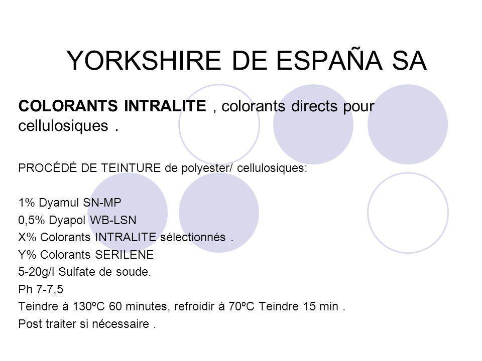YORKSHIRE DE ESPAÑA SA COLORANTS INTRALITE, colorants directs pour cellulosiques. PROCÉDÉ DE TEINTURE de polyester/ cellulosiques: 1% Dyamul SN-MP 0,5