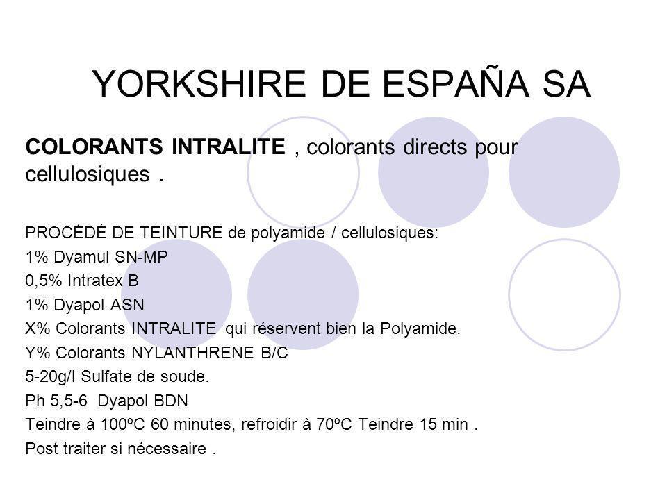 YORKSHIRE DE ESPAÑA SA COLORANTS INTRALITE, colorants directs pour cellulosiques. PROCÉDÉ DE TEINTURE de polyamide / cellulosiques: 1% Dyamul SN-MP 0,