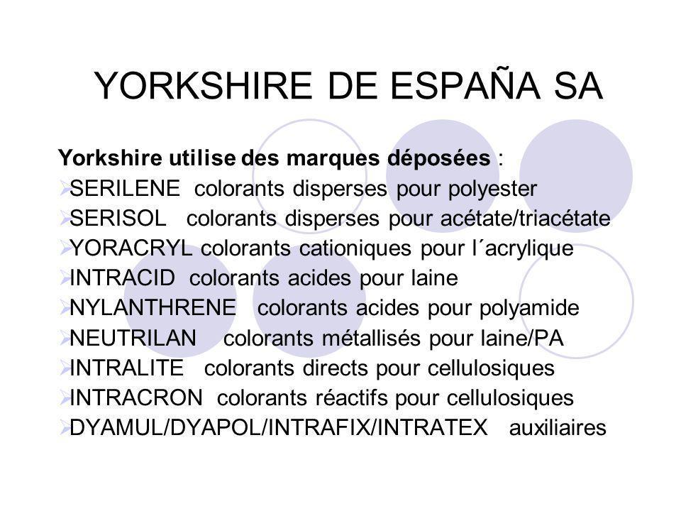 YORKSHIRE DE ESPAÑA SA Yorkshire utilise des marques déposées :  SERILENE colorants disperses pour polyester  SERISOL colorants disperses pour acéta