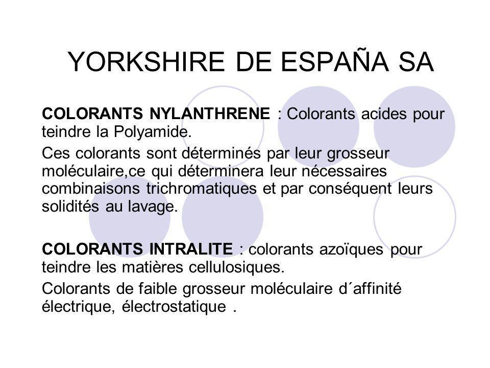 YORKSHIRE DE ESPAÑA SA COLORANTS NYLANTHRENE : Colorants acides pour teindre la Polyamide. Ces colorants sont déterminés par leur grosseur moléculaire