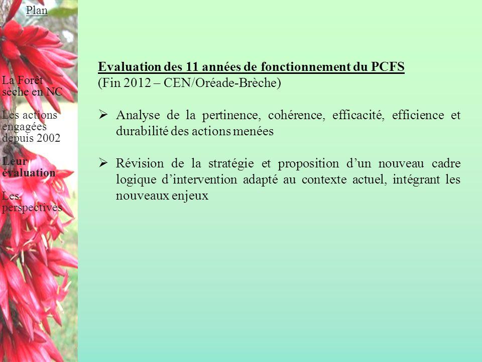 Evaluation des 11 années de fonctionnement du PCFS (Fin 2012 – CEN/Oréade-Brèche)  Analyse de la pertinence, cohérence, efficacité, efficience et dur