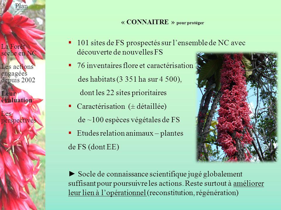 « CONNAITRE » pour protéger  101 sites de FS prospectés sur l'ensemble de NC avec découverte de nouvelles FS  76 inventaires flore et caractérisatio