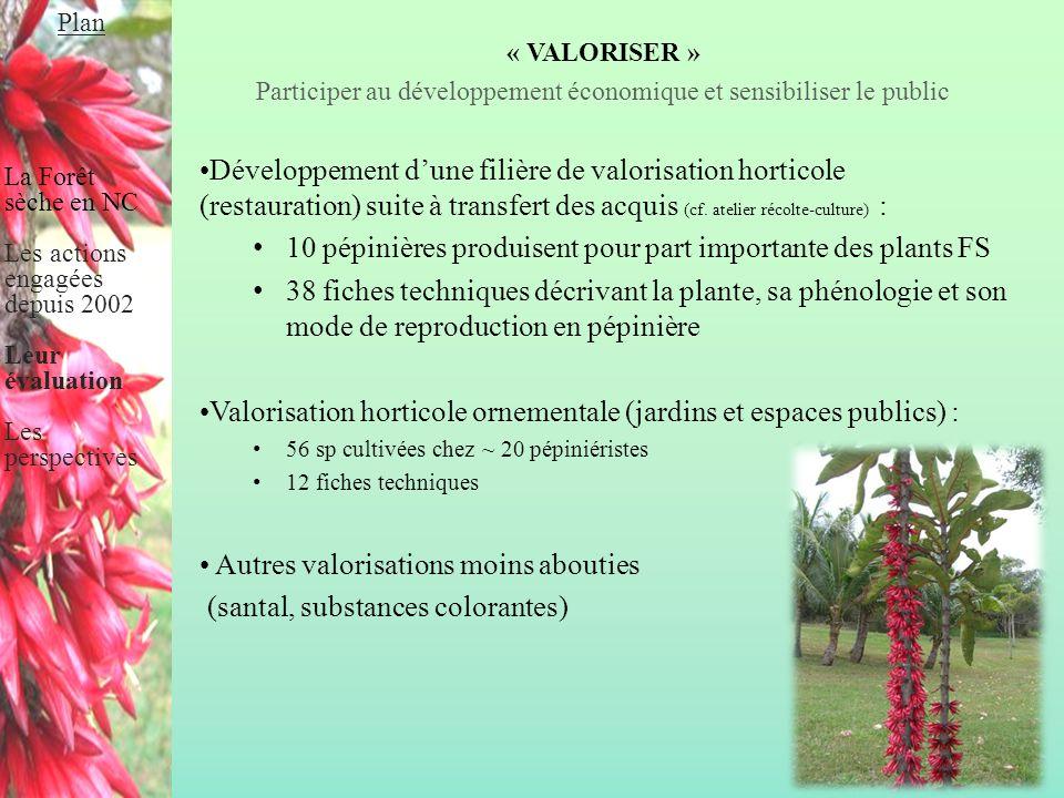 « VALORISER » Participer au développement économique et sensibiliser le public Développement d'une filière de valorisation horticole (restauration) su