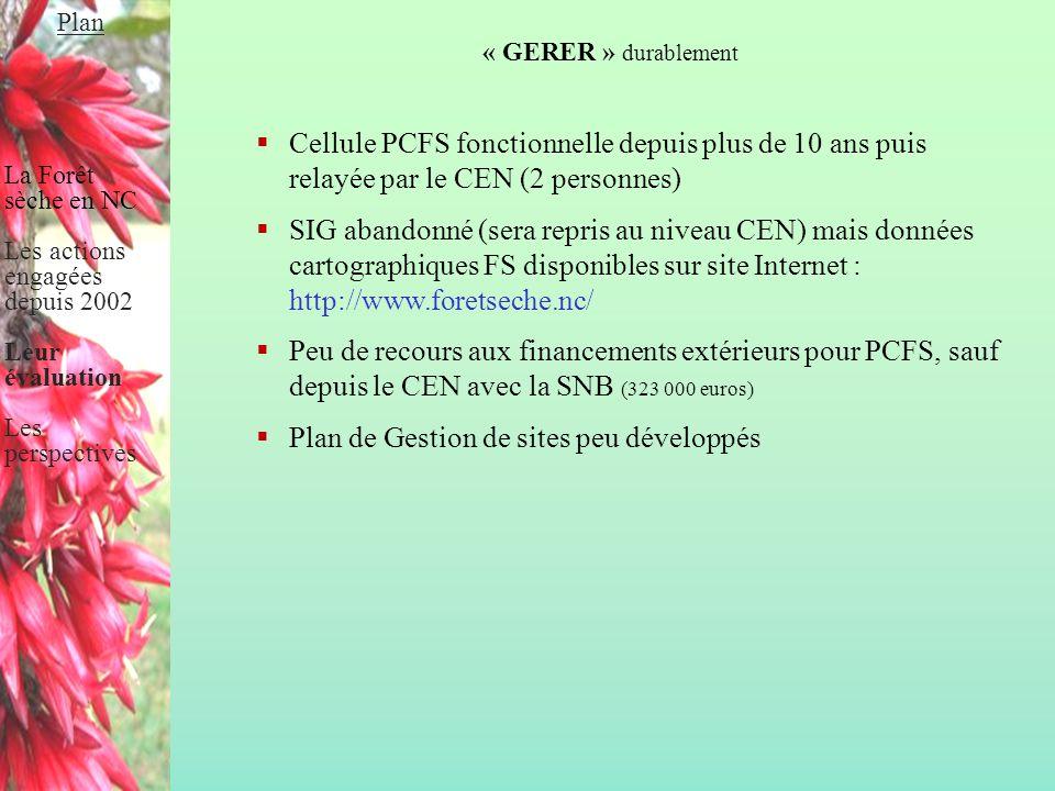 « GERER » durablement  Cellule PCFS fonctionnelle depuis plus de 10 ans puis relayée par le CEN (2 personnes)  SIG abandonné (sera repris au niveau