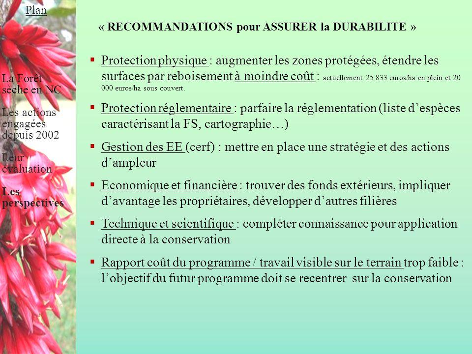 « RECOMMANDATIONS pour ASSURER la DURABILITE »  Protection physique : augmenter les zones protégées, étendre les surfaces par reboisement à moindre c