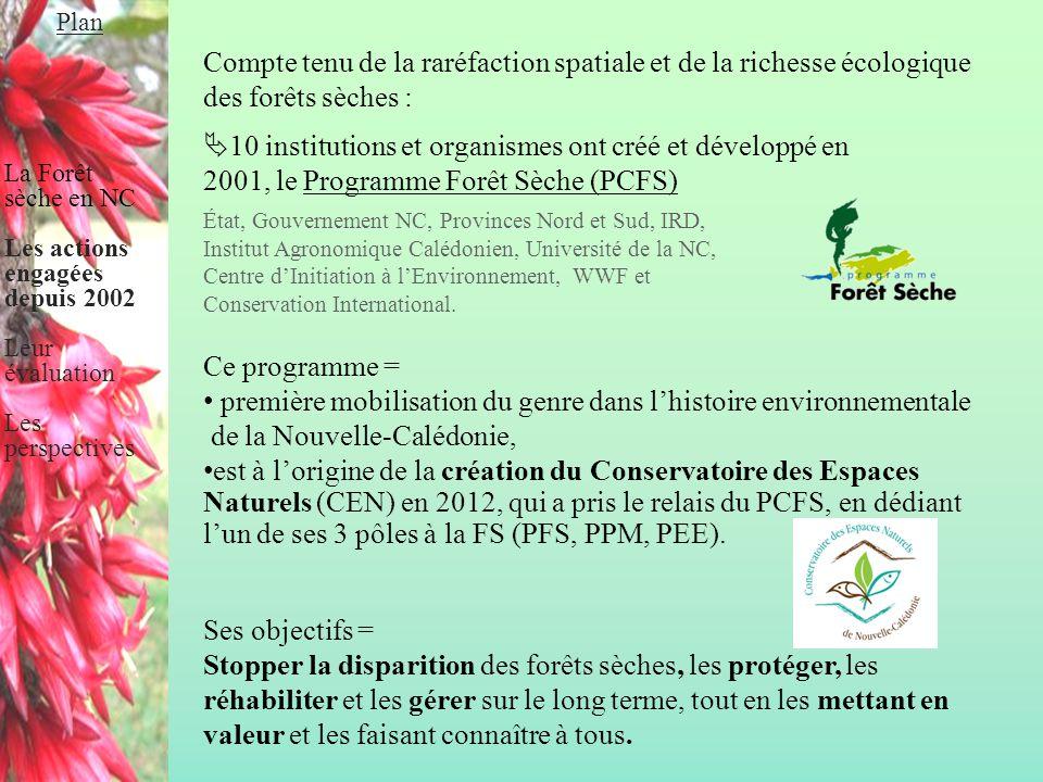 Compte tenu de la raréfaction spatiale et de la richesse écologique des forêts sèches :  10 institutions et organismes ont créé et développé en 2001,