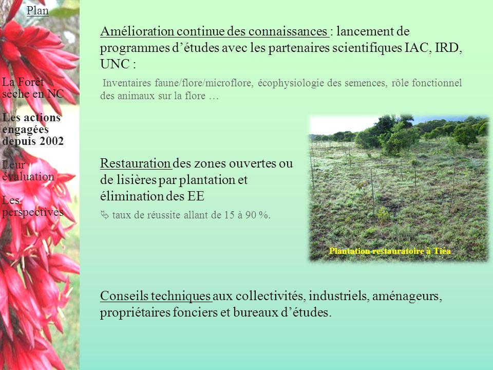 Conclusion de l'évaluation La FS de NC est un milieu naturel biologiquement riche mais peu armé contre les agressions extérieures (92 % des FS de NC restent exposées).